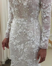 Load image into Gallery viewer, Unique Long Sleeve Mermaid Lace Wedding Dresses with Beads Wedding XHMPST14338