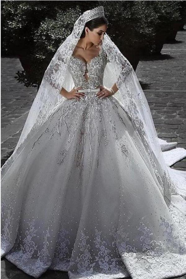 Sexy Ball Gown Sweetheart Long Sleeve Lace Appliques Tulle Long Wedding XHMPST13528