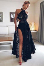 Load image into Gallery viewer, Sexy Black Lace High Split Prom Dresses Halter Floor Length Long Evening XHMPST13535