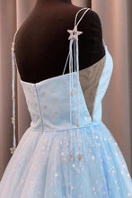 Load image into Gallery viewer, Charming A Line Spaghetti Straps Blue Tulle Prom Dresses with Stars Dance Dresses XHMPST15503