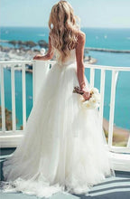Load image into Gallery viewer, Sweep Train Spaghetti Straps Ivory Sweetheart Backless Beach Wedding XHMPST14161
