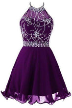 Load image into Gallery viewer, Short Beaded Prom Dress Halter Homecoming Dress XHMPST13794
