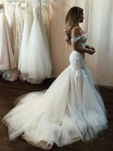 Load image into Gallery viewer, Off the Shoulder Mermaid Tulle Wedding Dresses Lace Appliques Bridal XHMPST13095