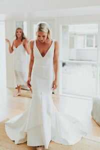 Simple Deep V Neck Sweep Train Mermaid Satin Wedding Dress Long Bridal XHMPST13898