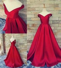 Load image into Gallery viewer, Simple Ball Gown Off The Shoulder Sweetheart Red Satin Fitted Corset Prom XHMPST13877