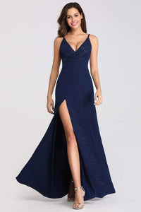 Sexy V Neck Long Spaghetti Straps Mermaid Navy Blue Prom Dresses with High Split XHMPST15366