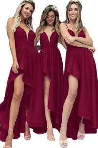 Spaghetti Straps V Neck High Slit Burgundy Satin Bridesmaid Dresses Bridesmaid XHMPST14059