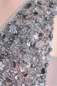 2020 New A-Line V-Neck Grey Tulle Beaded Long Sleeveless Backless Prom Dresses with Split XHMPST14594
