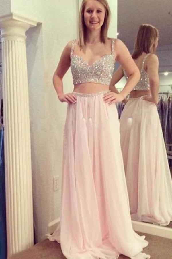 Two Pieces Beading Bodice Long Chiffon Prom Dresses XHMPST14263