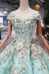 Elegant Ball Gown Cap Sleeve Lace up Scoop with Lace Appliques Beads Prom Dresses XHMPST14892