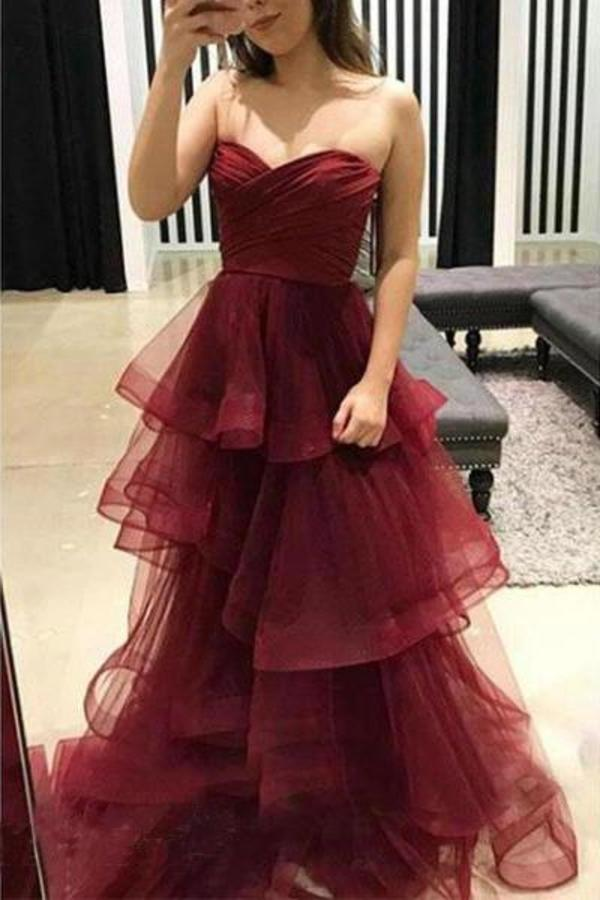 Unique Sweetheart Burgundy Ruffles Organza Layered Skirt Prom XHMPST14376