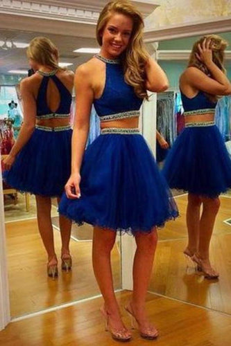 Two Piece Scoop Short Tulle Backless Royal Blue Cocktail Homecoming Dress with XHMPST14249