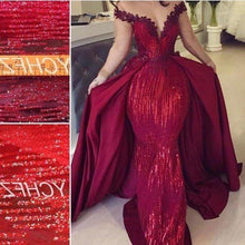 Load image into Gallery viewer, Mermaid Off the Shoulder Burgundy Long Sleeves V Neck Prom Dresses with Detachable Train XHMPST15263