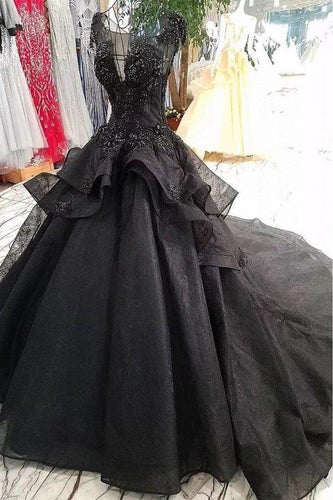 Princess Black Ball Gown Beaded Prom Dresses Tulle Long Quinceanera XHMPST13257