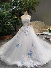 Load image into Gallery viewer, 2020 Low Price Floor Length Wedding Dresses Lace Up Strapless With Handmade XHMPST14587