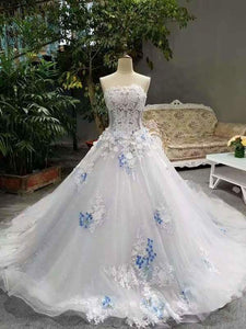 2020 Low Price Floor Length Wedding Dresses Lace Up Strapless With Handmade XHMPST14587