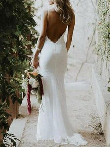 Backless Mermaid Spaghetti Straps Lace Backless Wedding Dresses Beach Bridal Dresses XHMPST15056