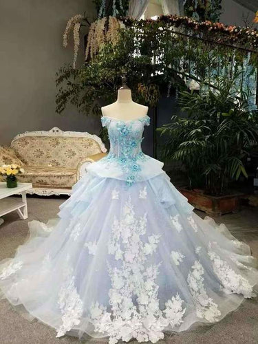 Sky Blue Floral Wedding Dress Shiny Tulle Lace Off The Shoulder Lace Up With Beads Handmade XHMPST14009