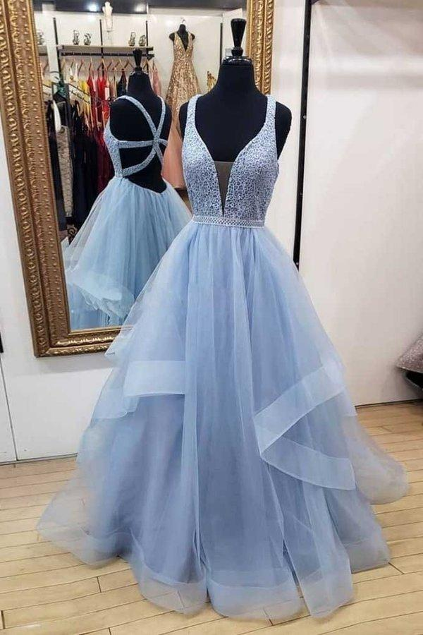 A-Line Blue Deep V Neck Tulle Prom Dresses Long Cheap Open Back Evening Dresses XHMPST14853