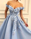 A Line Blue Off the Shoulder Tulle Lace Sweetheart 3D Flowers Prom Dresses Formal XHMPST10154