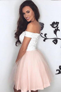 Pretty Lace V Neck Tulle Off the Shoulder Light Pink Sweetheart Homecoming XHMPST13225