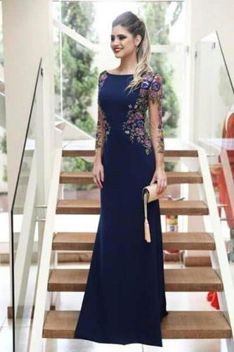Mermaid Long Sleeves Navy Blue Scoop Prom Dresses Long Formal XHMPST12797