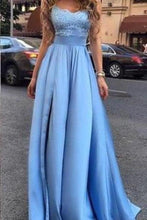 Load image into Gallery viewer, Sexy Cheap Appliques Long Blue Charming Sweetheart A-Line Floor-Length Prom XHMPST13564
