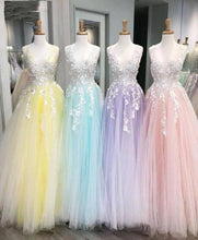 Load image into Gallery viewer, Gorgeous 3D Floral Appliques Tulle V Neck Lavender Prom Dresses Evening Dresses XHMPST14899
