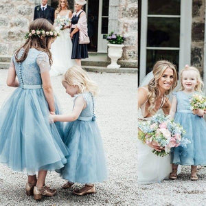 A-Line Mid-Calf Blue Lace Top Tulle Scoop Sleeveless Cheap Junior Flower Girl XHMPST10828