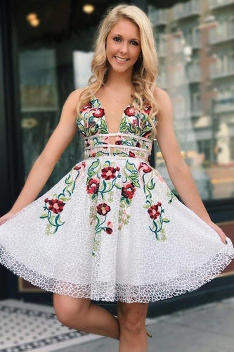 White Lace V Neck Homecoming Dresses with Floral Print Backless Short Prom XHMPST14506
