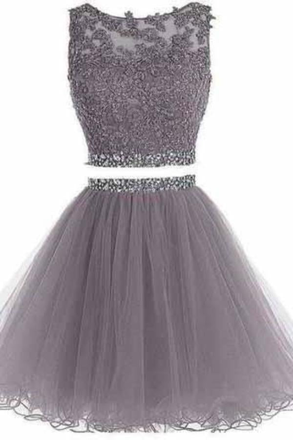 Two Piece Open Back Scoop Beads Sleeveless Grey Tulle A-Line Homecoming XHMPST14244