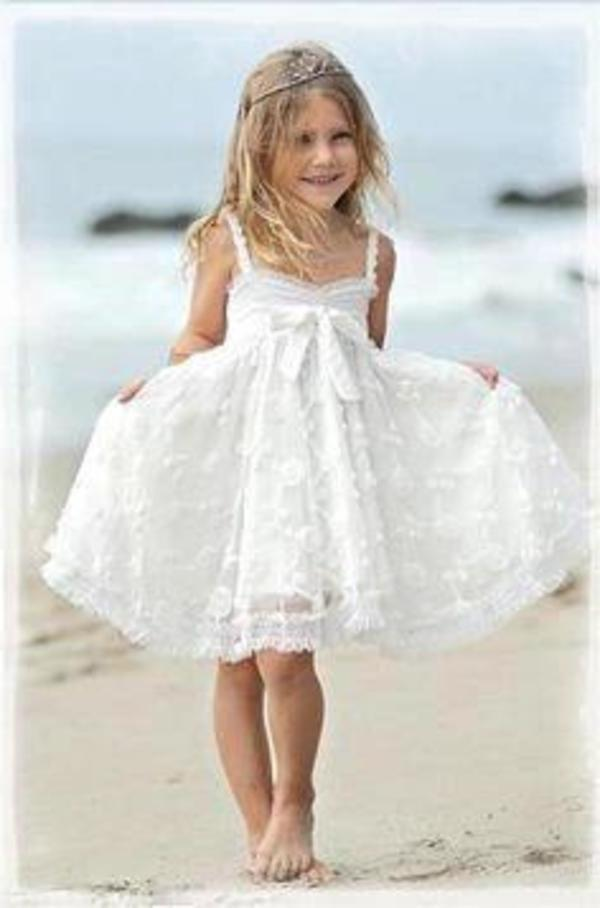 Cute Spaghetti Straps Sleeveless Ivory With Bowkont Lace Beach Flower Girl XHMPST11784