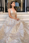 Modest Sparkly A Line Champagne V Neck Long Prom Dresses Evening Dresses XHMPST15269