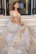 Load image into Gallery viewer, Modest Sparkly A Line Champagne V Neck Long Prom Dresses Evening Dresses XHMPST15269