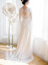 Load image into Gallery viewer, Unique V Neck Lace-up Mermaid Back Bridal Dresses Ivory Lace Trumpet Sleeve Wedding Dresses XHMPST15469