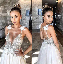 Load image into Gallery viewer, A Line Deep V Neck Spaghetti Straps Beads Backless Handmade Flower Wedding XHMPST10237