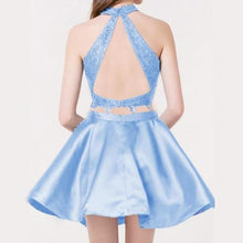Load image into Gallery viewer, Two Piece Round Neck Short Tiered Satin Blue Open Back Homecoming Dress with XHMPST14247