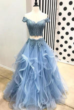 Load image into Gallery viewer, A Line Blue Lace Off the Shoulder Tulle Ruffled Beaded Two Piece Prom XHMPST10151