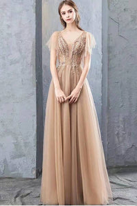 A Line V Neck Tulle Long Prom Dresses Cheap Evening Dress with XHMPST20488