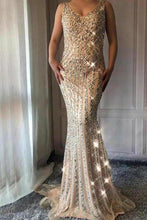 Load image into Gallery viewer, V Neck Long Mermaid Rhinestone Beaded Luxury Prom Dresses Backless Party XHMPST14400