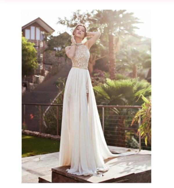 2020 Sexy Lace Backless Long Chiffon High Neckline Halter Side Slit Prom XHMPST10052
