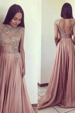 Load image into Gallery viewer, 2020 Scoop Beads Long Cheap Open Back Chiffon Pink A-Line Sleeveless XHMPST10048