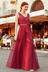 Elegant V Neck Burgundy Beads Appliques Lace Evening Dresses Long Prom Dresses XHMPST15211