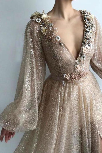 Long Sleeve Sequin V Neck Prom Dresses with Split Handmade Flowers Evening Dress XHMPST12671