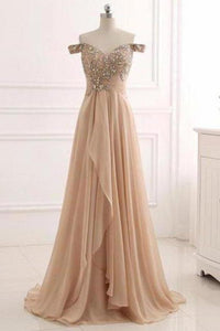 A Line Chiffon Sweetheart Off the Shoulder Beads Open Back Cheap Prom XHMPST10205