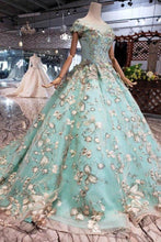 Load image into Gallery viewer, Elegant Ball Gown Cap Sleeve Lace up Scoop with Lace Appliques Beads Prom Dresses XHMPST14892