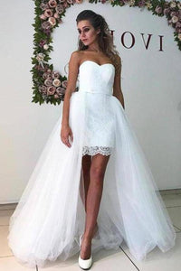 White Tulle Sweetheart Strapless Mermaid Wedding Dresses with Lace Detachable XHMPST14530