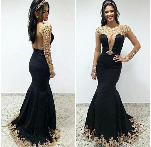 Sexy Black Lace Long Sleeves Long Mermaid Prom Dresses Evening XHMPST13536
