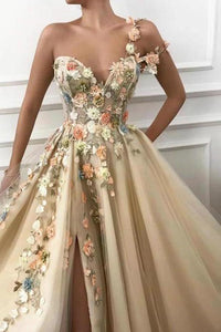 A Line One Shoulder V Neck 3D Flowers Prom Dresses Tulle Sleeveless Evening Dresses XHMPST15009