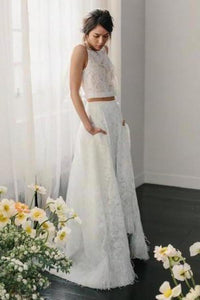 Two Piece Crew Sleeveless Sweep Train Open Back Ivory Lace Cheap Wedding XHMPST14230